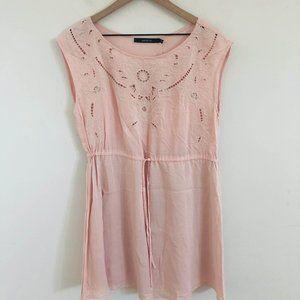 NWT! Ark & Co Eyelet Pink Mini Dress Large